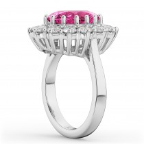 Oval Pink Tourmaline & Diamond Halo Lady Di Ring 14k White Gold (6.40ct)