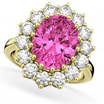 Oval Pink Tourmaline & Diamond Halo Lady Di Ring 14k Yellow Gold (6.40ct)