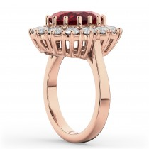 Oval Ruby & Diamond Halo Lady Di Ring 14k Rose Gold (6.40ct)