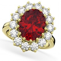 Oval Ruby & Diamond Halo Lady Di Ring 14k Yellow Gold (6.40ct)