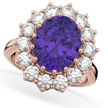 Oval Tanzanite & Diamond Halo Lady Di Ring 14k Rose Gold (6.40ct)