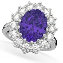 Oval Tanzanite & Diamond Halo Lady Di Ring 14k White Gold (6.40ct)
