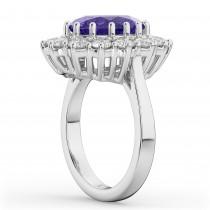 Oval Tanzanite & Diamond Halo Lady Di Ring 14k White Gold (6.40ct)
