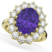 Oval Tanzanite & Diamond Halo Lady Di Ring 14k Yellow Gold (6.40ct)