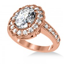 Diamond Oval Halo Engagement Ring 14k Rose Gold (2.78ct)