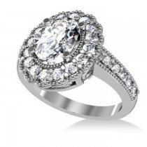 Diamond Oval Halo Engagement Ring 14k White Gold (2.78ct)