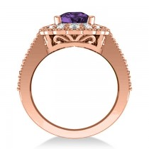 Amethyst & Diamond Oval Halo Engagement Ring 14k Rose Gold (3.28ct)