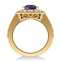 Amethyst & Diamond Oval Halo Engagement Ring 14k Yellow Gold (3.28ct)