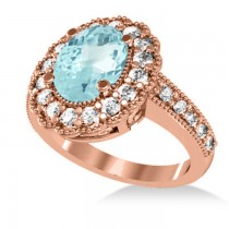 Aquamarine & Diamond Oval Halo Engagement Ring 14k Rose Gold (3.28ct)