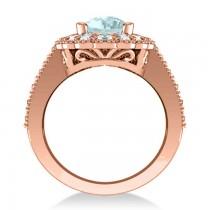 Aquamarine & Diamond Oval Halo Engagement Ring 14k Rose Gold (3.28ct)