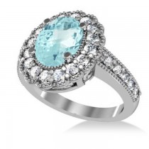 Aquamarine & Diamond Oval Halo Engagement Ring 14k White Gold (3.28ct)