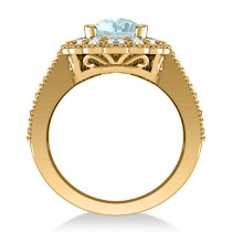Aquamarine & Diamond Oval Halo Engagement Ring 14k Yellow Gold (3.28ct)