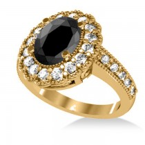 Black Diamond & Diamond Oval Halo Engagement Ring 14k Yellow Gold (2.78ct)