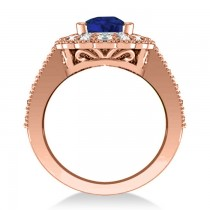 Blue Sapphire & Diamond Oval Halo Engagement Ring 14k Rose Gold (3.28ct)