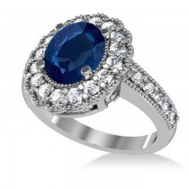 Blue Sapphire & Diamond Oval Halo Engagement Ring 14k White Gold (3.28ct)