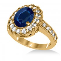 Blue Sapphire & Diamond Oval Halo Engagement Ring 14k Yellow Gold (3.28ct)