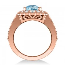 Blue Topaz & Diamond Oval Halo Engagement Ring 14k Rose Gold (3.28ct)