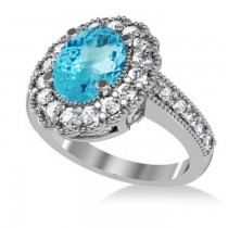 Blue Topaz & Diamond Oval Halo Engagement Ring 14k White Gold (3.28ct)