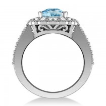 Blue Topaz & Diamond Oval Halo Engagement Ring 14k White Gold (3.28ct)