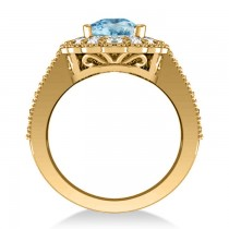 Blue Topaz & Diamond Oval Halo Engagement Ring 14k Yellow Gold (3.28ct)