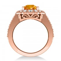 Citrine & Diamond Oval Halo Engagement Ring 14k Rose Gold (3.28ct)