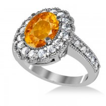 Citrine & Diamond Oval Halo Engagement Ring 14k White Gold (3.28ct)