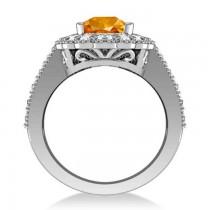 Citrine & Diamond Oval Halo Engagement Ring 14k White Gold (3.28ct)