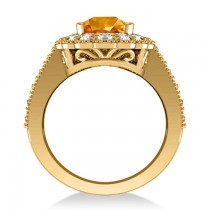 Citrine & Diamond Oval Halo Engagement Ring 14k Yellow Gold (3.28ct)