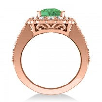 Emerald & Diamond Oval Halo Engagement Ring 14k Rose Gold (3.28ct)