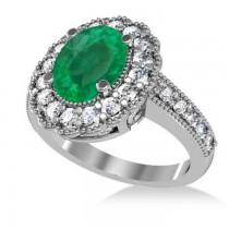 Emerald & Diamond Oval Halo Engagement Ring 14k White Gold (3.28ct)