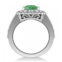 Emerald & Diamond Oval Halo Engagement Ring 14k White Gold (3.28ct)