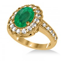 Emerald & Diamond Oval Halo Engagement Ring 14k Yellow Gold (3.28ct)