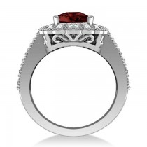 Garnet & Diamond Oval Halo Engagement Ring 14k White Gold (3.28ct)