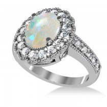 Opal & Diamond Oval Halo Engagement Ring 14k White Gold (3.28ct)