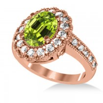 Peridot & Diamond Oval Halo Engagement Ring 14k Rose Gold (3.28ct)