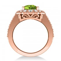 Peridot & Diamond Oval Halo Engagement Ring 14k Rose Gold (3.28ct)