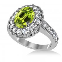 Peridot & Diamond Oval Halo Engagement Ring 14k White Gold (3.28ct)