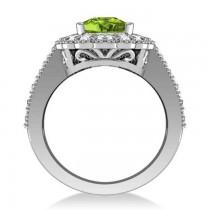 Peridot & Diamond Oval Halo Engagement Ring 14k White Gold (3.28ct)