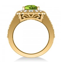 Peridot & Diamond Oval Halo Engagement Ring 14k Yellow Gold (3.28ct)