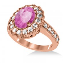 Pink Sapphire & Diamond Oval Halo Engagement Ring 14k Rose Gold (3.28ct)