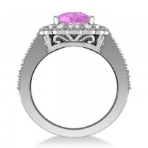Pink Sapphire & Diamond Oval Halo Engagement Ring 14k White Gold (3.28ct)