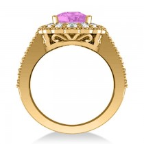 Pink Sapphire & Diamond Oval Halo Engagement Ring 14k Yellow Gold (3.28ct)