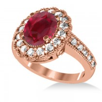 Ruby & Diamond Oval Halo Engagement Ring 14k Rose Gold (3.28ct)