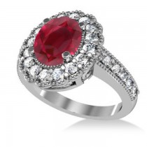 Ruby & Diamond Oval Halo Engagement Ring 14k White Gold (3.28ct)