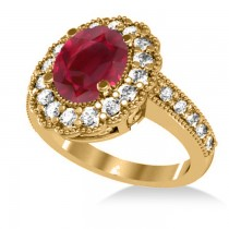 Ruby & Diamond Oval Halo Engagement Ring 14k Yellow Gold (3.28ct)
