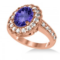 Tanzanite & Diamond Oval Halo Engagement Ring 14k Rose Gold (3.28ct)