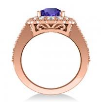 Tanzanite & Diamond Oval Halo Engagement Ring 14k Rose Gold (3.28ct)