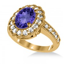 Tanzanite & Diamond Oval Halo Engagement Ring 14k Yellow Gold (3.28ct)