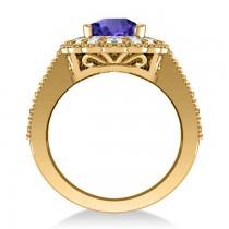 Tanzanite & Diamond Oval Halo Engagement Ring 14k Yellow Gold (3.28ct)