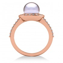 Pearl & Diamond Halo Engagement Ring 14k Rose Gold 8mm (0.54ct)